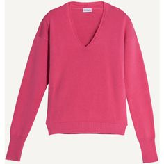 Max&Co. V-neck jumper (1 820 UAH) ❤ liked on Polyvore featuring tops, sweaters, fuchsia, deep v neck top, pink jumper, long sleeve jumper, long sleeve v neck sweater and patterned sweaters