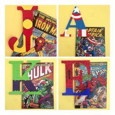 Avengers Superhero Wooden Letters Iron Man Captain por ArtsyAutly