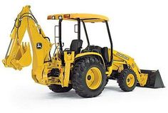 A backhoe loader consists of a tractor, hydraulic boom-arm, stabilizer legs, bucket-attachment, front loader, driver-cab and engine.