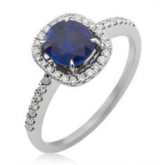 Sapphire and Diamond Cluster Dress Ring in 18K White Gold