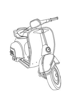 Scooters Vespa, Vespa Bike, Vespa Lambretta, Drawing Templates, Drawing Sketches, Drawings, Illustration Vespa, Vespa Vector, Bike Sketch