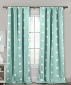 Duck River Textile Seafoam Butterfly Heavy Blackout Curtain Panel - Set of Two | zulily
