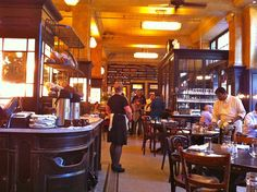 Classic Parisian brasserie style interior at the Balthazar NYC