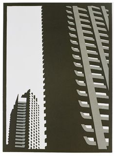 Paul Catherall - Barbican I - linocut Cityscape Art, Barbican, A Level Art, Linocut Prints, London Art, Brutalist, Architecture Details, Architecture Posters, Architecture