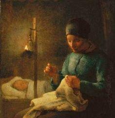 'Woman Sewing Beside Her Sleeping Child'- Jean-François Millet (1814-1875)