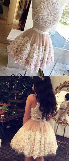 Two Pieces Homecoming Dresses,Pretty Party Dress,Charming Homecoming Dress,Homecoming Dress,Short Prom Dress Mini Prom Dresses, Two Piece Homecoming Dress, Hoco Dresses, Dance Dresses, Event Dresses, Quinceanera Dresses Short, Champagne Homecoming Dresses, Graduation Dresses, Dresses Elegant