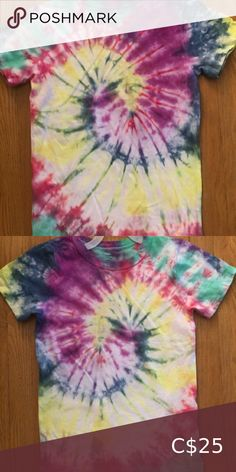 Kids Tie Dye T-shirt size Medium My 9 year old ambitious daughter decided she wanted to open her own tie dye business and would like to give $5 for each piece sold to the food bank in her community.   Her name is Diana and she designs all her own clothing.   They are brand new and never been worn. Custom orders welcome.  Help support little dreams! Shirts & Tops Tees - Short Sleeve Tie Up Shirt, Tie Dye Shorts, Dye T Shirt, Kids Tie Dye, Kids Ties, Shirts For Girls, Kids Shirts, Lightening Mcqueen, Pineapple Shirt