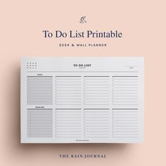 The Rain Journal Printable To Do List Planners - have a look at our huge To Do List Planner Printable library. Find daily, weekly, monthly and yearly checklist, to do list for home, school and work. These are perfect for your binders such as filofax and kikki k.  #printableplanner #planners #printables #printableplanners To Do Lists Printable, Printable Planner, Printables, Desk Stationery, Wall Planner, Diary Entry, Journal Diary, Office And School Supplies, Planner Inserts