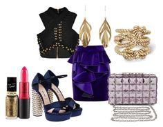 """Trendy Cookie: royal purple"" by andrea-hu on Polyvore featuring Miu Miu, MAC Cosmetics, Balmain, Aurélie Bidermann, L'Oréal Paris, BCBGMAXAZRIA and C. Wonder"