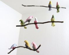 MADE TO ORDER Can be made with natural or painted white tree branches.  Bird Mobile is the best baby gift you will find that will entertain baby for months. Its colorful design and slight motion will certainly catch your babies attention. This birds mobile makes a perfect gift - for baby shower, new baby, childrens birthdays, Christmas, and many other occasions. Can be used as a home decor.  Birds measure approximately 4 1/2 by 1.5 and are sewn from 100% new cotton fabric in different co...