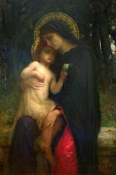 This shows the great love between Lord Jesus and Mother Mary; a tender moment .