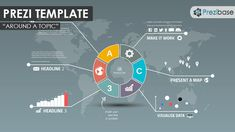 An infographic Prezi Template with a round and colorful design concept on a world map background.  A professional looking diagram prezi – suitable for a variety of presentation topics.  Present a creative business or company report, data, generate a mindmap, talk about politics or international relations.  Divide the presentation into sections using colors and symbols – just like a pie chart