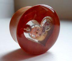 25mm Handmade Steampunk Wooden Heart Plug - 1 Unique Piece. £32.00, via Etsy.