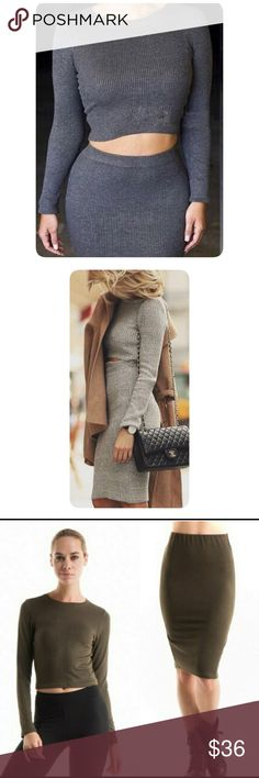 Long Sleeve Rib Knit Top and Skirt-NWOT The one on sale is OLIVE colour, as shown in picture #3❤️rayon/polyester/spandex❤️ Material is  NOT thick but soft, perfect for fall. ❤️PRICE IS FIRM UNLESS BUNDLE❤️ actual product and measurement will be updated❤️Brand new doesnt come with tag❤️ fashionomics Dresses Midi