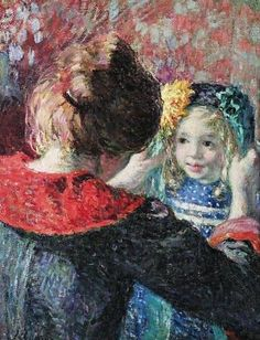 Henri Lebasque (French artist, 1865-1937) Madame Lebasque and Daughter Marthe