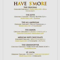 S'mores party menu!!!!! These are sooooooooo yummy!!!!!!!