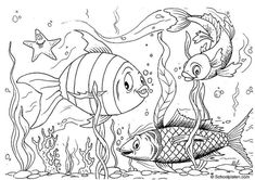 Coloring page fishes