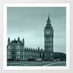 Big Ben Art Print by Alice Gosling - $20.00  Available as print, canvas or framed, with a choice of frame color #walldecor #wallart #London #BigBen #Clock #LoveLondon #Westminster