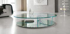 Kadir kulatý konferenční stolek ze skla / coffee table with glass top