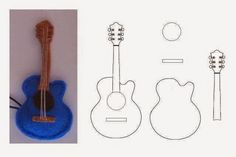 guitar made from felt, or cut each piece from stock card for scrapbooking or cards Guitar Patterns, Felt Patterns, Stuffed Toys Patterns, Felt Diy, Felt Crafts, Diy And Crafts, Paper Crafts, Paper Toys, Sewing Projects