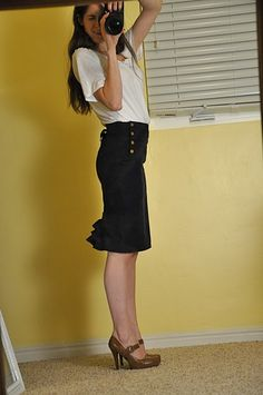 pencil skirt with embellished back (from longer skirt) tutorial {Cotton & Curls}