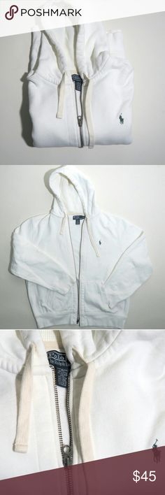 Polo Ralph Lauren Full Zip Fleece Hoodie White Full zip hoodie. Smooth on outer area, soft fleece inside. Cream white color. Hood is cotton. Extremely comfortable and nice weight. Make an offer! Polo by Ralph Lauren Sweaters Zip Up