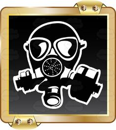 Black Gas mask With White Outline On Black Inside Gold Metal Square #airborne #breathe #caution #cover #danger #eyes #face #gas #inhale #label #lungs #mouth #nose #PDF #poison #protection #respirator #risk #safety #security #sign #symbol #threat #toxic #vectorgraphics #vectors #vectortoons #vectortoons.com #warning