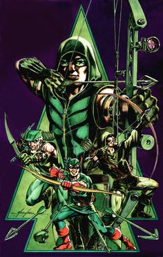 Green Arrow by Mike Grell - Classic (central), Emerald Archer (left), Long Bow Hunter 1987 (right) and Smallville version (Big) Comic Book Characters, Comic Book Heroes, Comic Books Art, Dc Heroes, Book Art, Green Arrow, Arsenal, Dc Comics, Arrow Black Canary