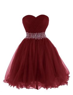 Image of Beautiful Wine Red Short Tulle Homecoming Dresses, Short Prom Dresses, Party Dresses Blue Homecoming Dresses, Strapless Prom Dresses, Beaded Prom Dress, Hoco Dresses, Short Bridesmaid Dresses, Dance Dresses, Ball Dresses, Cute Dresses, Ball Gowns