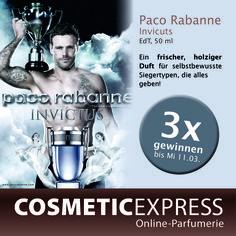 Jetzt mitmachen bei unserem Gewinnspiel auf facebook! Gewinne einen von 3 Invictus Düften von Paco Rabanne. Hier geht's zum Gewinnspiel: https://www.facebook.com/CosmeticExpressCom?ref=bookmarks