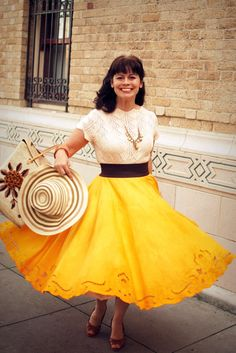 Make a circle skirt from a round tablecloth. hello! great idea!