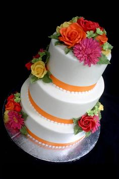 Change the pink and yellow to shades of purples and blues, leaving the orange = beautiful wedding cake in our colors. ;)