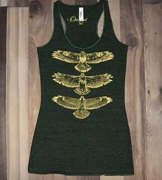 Hawk Totem Pole Tank Top - Green & Gold