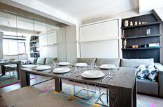 Гостиная, холл в цветах: желтый, черный, серый, светло-серый, белый. Гостиная, холл в стиле минимализм.
