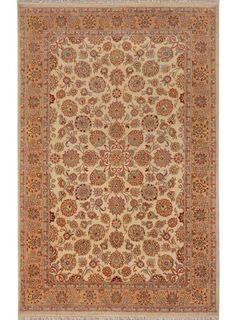 "Beige/Ivory Persian Silk Mahal Rug 4' 7"" x 7' 4"" (ft) - No. 14511  http://alrug.com/beige-ivory-persian-silk-mahal-rug-4-7-x-7-4-ft-no-14511.html"