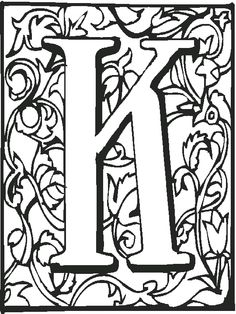 Letter K With Ornament Coloring Page From English Alphabet Ornaments Category Select 26514 Printable Crafts Of Cartoons Nature Animals