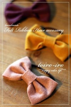 トイロイロ ***happy color life***-フェルトリボンのヘアゴム Flower Hair Accessories, Handmade Accessories, Ribbon Hair, Ribbon Bows, Crochet Flowers, Fabric Flowers, Diy Shrink Plastic Jewelry, Felt Hair Clips, Hair Rings