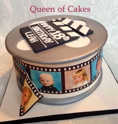 Personalised movie reel theme 18th birthday cake with edible images, by Queen of Cakes