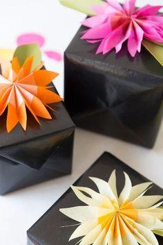 tissue paper flower gift topper