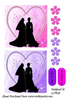 "Gay Wedding Women on Craftsuprint designed by Lorraine J Bush - An unusual Card front 5""X 5"" square with a gay woman couple has extra decoupage flowers if required - Now available for download!"