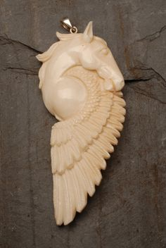 Horse w/ Wing Power Animal Totem Sterling Silver 925 Carved Buffalo Bone Bali 71mm x 31mm. $25.00, via Etsy.