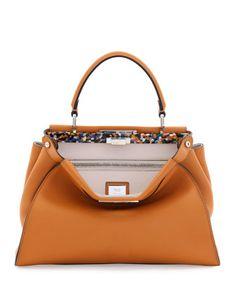 Peekaboo Small Leather Satchel Bag by Fendi at Bergdorf Goodman.