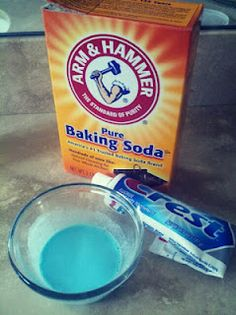 """Homemade teeth whitening  1 tsp. baking sode  2 tsp. water  toothpaste for 3-4 brushes      Directions  Use 2-3 times per week.    Store with lid under kitchen cabinet.  I use this concoction every few days"""""""