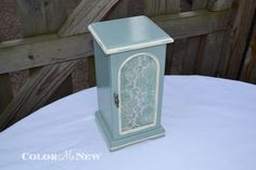 Upcycled Vintage Jewelry Box - Duck Egg Blue Paint with Old White Trim  - Hand Painted - Distressed - Decoupaged