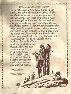 prayer by Yellow Hawk, Lakota Chief. art by Simon P. Nava, Apache-Comanche