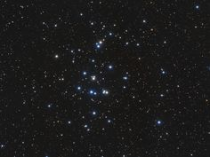 M44: The Beehive Cluster   A mere 600 lys away, M44 is one of the closest star clusters to our solar system. Its stars are young though, about 600 my old compared to our Sun's 4.5 by. Based on similar ages and motion through space, M44 and the even closer Hyades star cluster in Taurus are thought to have been born together in the same large molecular cloud. Visible to the unaided eye, M44 has been recognized since antiquity.
