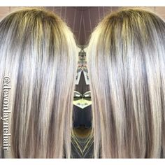 Icy blonde highlights baby-lowlights shadow root straight