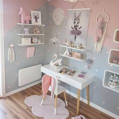 I like these white wall shelves. I like these white wall shelves. I like these white wall shelves. White Wall Shelves, Teenage Girl Bedrooms, Teenage Room, Kid Bedrooms, Girl Bedroom Designs, Princess Room, Little Girl Rooms, Room Inspiration, Bedroom Decor