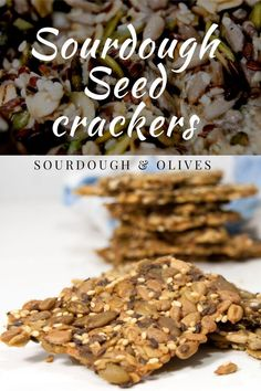 Lift your seed crackers to a new level by adding discarded sourdough starter. The taste will improve and you reduce your food waste. Food Waste, Crackers, Cereal, Seeds, Sourdough Bread, Breakfast, Yeast Bread, Morning Coffee, Pretzels