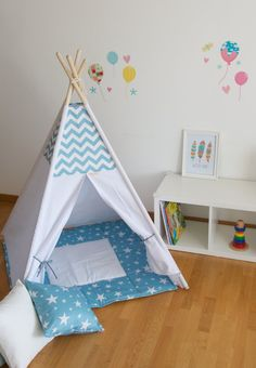 Chevron and stars kids teepee play tent with a padded par WigiWama